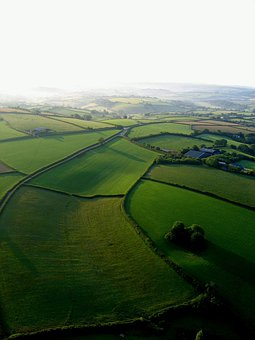 Landscape, Aerial, View, Fields, Countryside