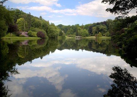 Stourhead Lake, Reflections, Landscaped Gardens, Nature