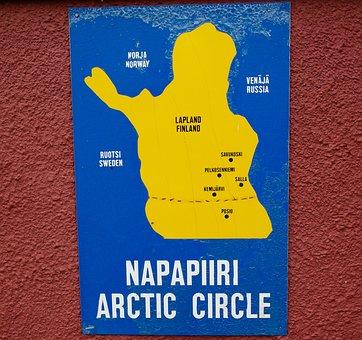 Map, Lapland, Arctic Circle