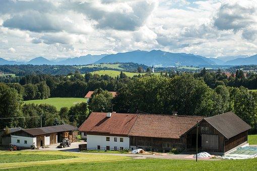 Farm, Alpine, Rottenbuch, Hoernle, Clouds, Sky, Mood