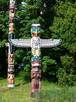 Native American, Totem, Poles, Alaska, Field