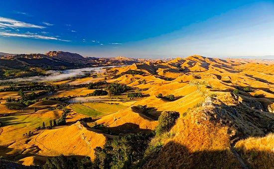 New Zealand, Mountains, Vista, Sky, Clouds, Fog, Nature