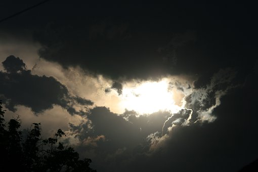Sky, Clouds, Dark, Greys, Layered, Sunset, Sun