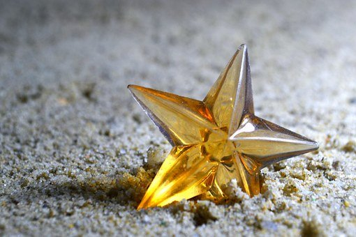Star, Yellow, Toy, Small, Standing, Ground, Sand