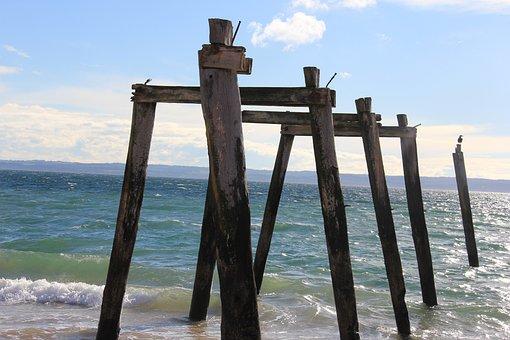 Beach, Old, Pier, Sea, Vacation, Summer, Travel, Ocean