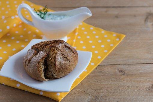 Muffin, Bread, Breakfast, Crispy, Yogurt, Sauce, Eating