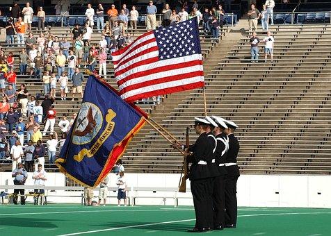 American Flag, Football Game, American Football Game