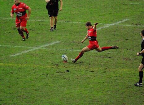 Rugby, Stadium, Players, Ball, Lawn, Match, Blow