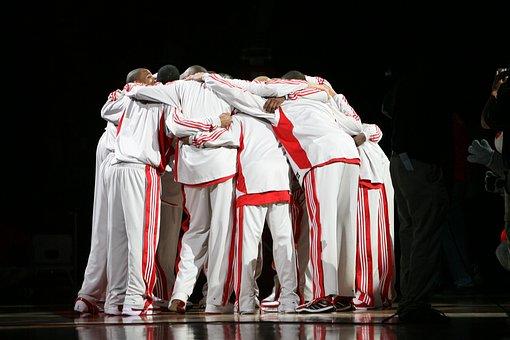 Pro Basketball Team, Huddle, Basketball Players