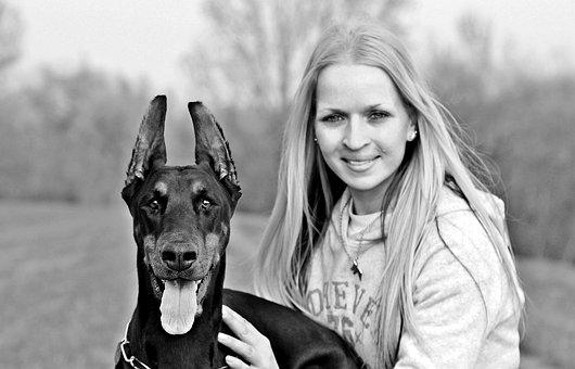 I, Dog And Woman, Black And White, Doberman, Dog