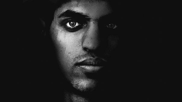 Face, Men, Black And White, Dark, Eyes, Black, Style