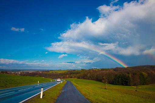 Rainbow, Landscape, Sky, Nature, Double Rainbow, Double