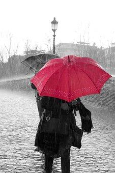 Rain, Water, Drops, Rainy, Rainy Day, Umbrella, Red
