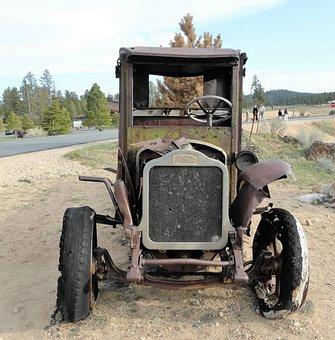 Car, Oldtimerr, Engine Trouble, Wreck