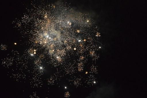 New Year Day, Fireworks, Explosion, White, Lights, Dots