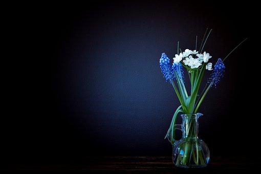 Flowers, Vase, Glass, Leek Flower, White, Hyacinth
