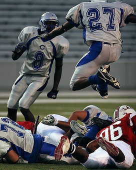 Football, Players, Competition, Team, Leaping, Jumping