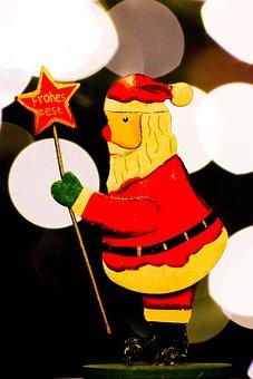 Santa Claus, Greeting, Lights, Christmas, Happy Fixed