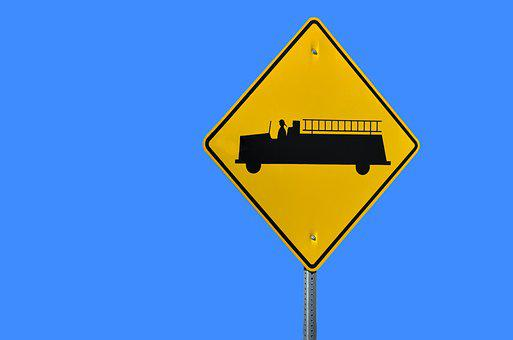 Sign, Firetruck, Warning, Isolated, Background, Vehicle
