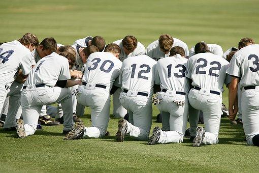 Baseball Team, Prayer, Kneeling, Pregame, Athletics