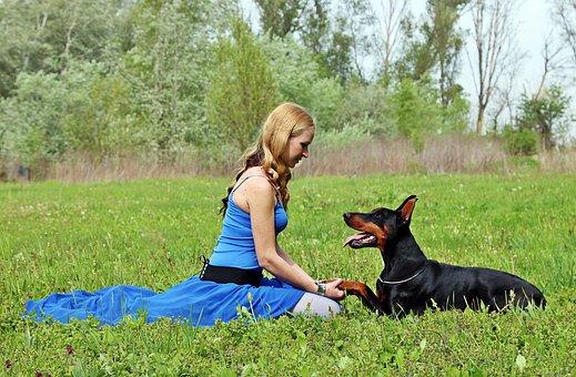 Doberman, Woman And Dog, Love, Pacsi, Field