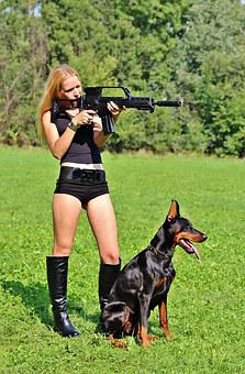 Weapon, Doberman, Dog, Woman, Pistol, Hunting, Sniper