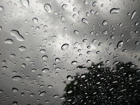 Drops, Rain, Rainy Day, Glass
