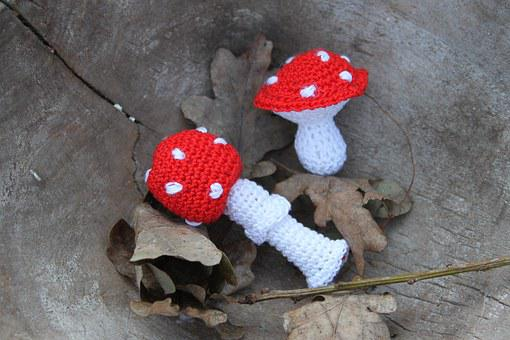 Mushroom, Fly Agaric, Knitted, Red With White Dots