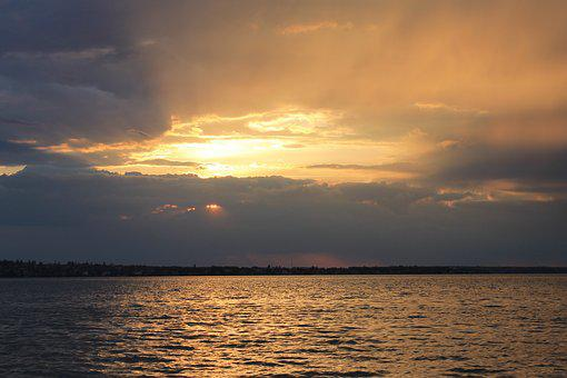 Sunset, Water, Nature, Silence, Sky, Clouds, River, Sea