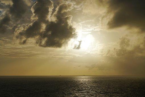 Sea, Sun, Sun And Sea, Sky, Sunset, Evening Sky