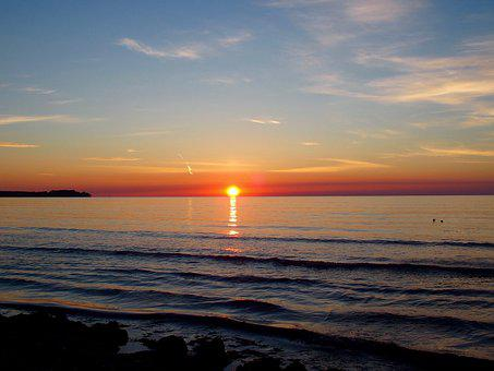 Sunrise, Stand, Sea, Sun, Morgenstimmung, Romantic