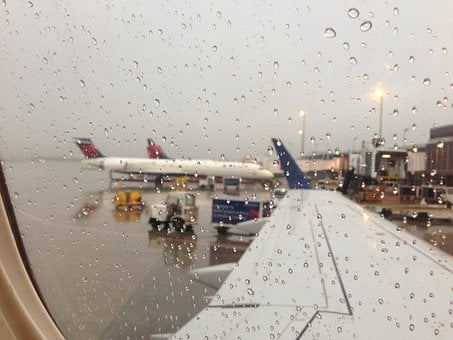 Travel, Airplane, Rainy Day, Transportation, Arrival