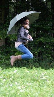 Autumn Mood, Rainy Day, Umbrella, Rain, Forest, Wet