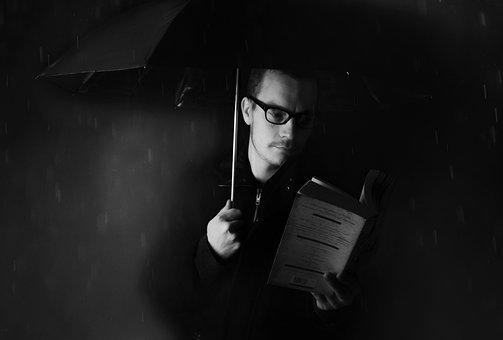 Man, People, Umbrella, Rain, Book Weather, Night, Dark
