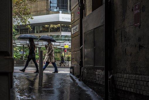 Sydney, Rain, Rainy Day, Umbrellas, Street, Scene