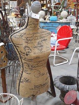 Calligraphy, Mannequin, Dress, Retro, Vintage, Garment