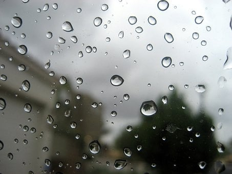 Raining, Water, Droplets, Glass, Surface, Transparent