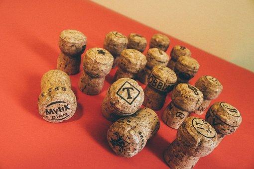 Wine, Champagne, Cork, Corks In A Vase, Drink, Red