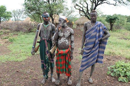 Men, Warriors, Mursi, Ethiopia, Africa, Black Skin