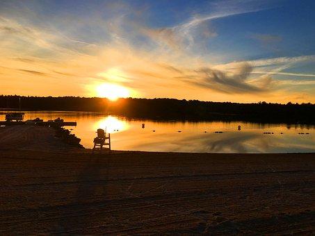 Beach, Sunset, Poconos, Pocono Pines, Beach Sunset