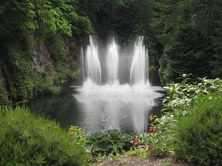Waterfall, Butchart Garden, Victoria, Canada, Nature