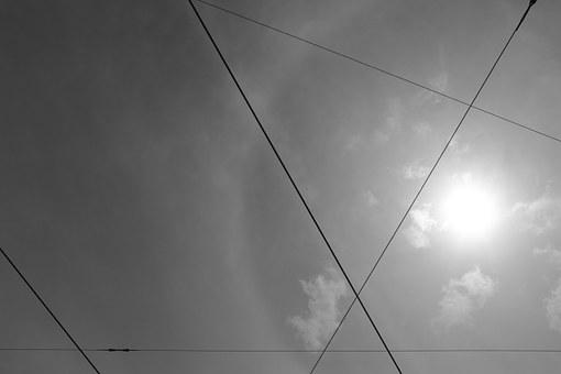 Sky, Clouds, Overcast, Cables, Criss-cross