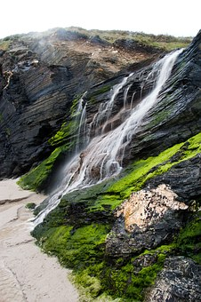 Beach Of The Cathedrals, Waterfalls, Green, Water