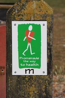 Healthy Walking Signpost, Signpost, Sign, Heart