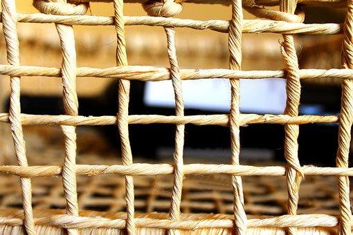 Wicker, Basket, Interlaced, Wine Basket, Grid