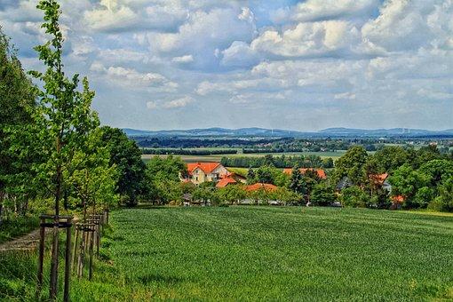 Ebendorfel, Germany, Village, Sky, Clouds, Landscape