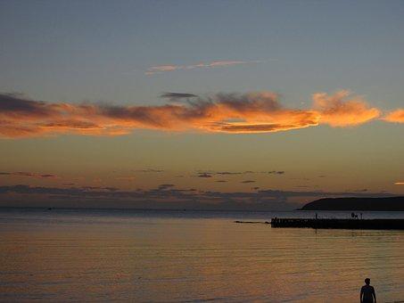 Sunset, Beach, Sea, Plimmerton, Mana Island, Clouds