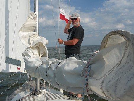Sailing Boat, Sail, Polish Flag, Flag, Border Crossing