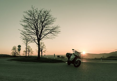 Sunset, Sunny, Motorcycle, Road, Tree, Streets