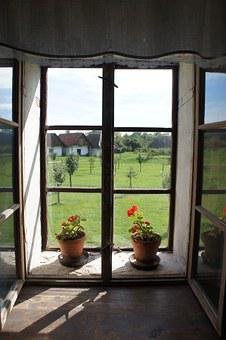Window, The Countryside, Summer, Geraniums, View Window